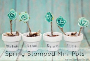 Spring Decor! Stamped Mini Potted Plants via Making Home Base #spring